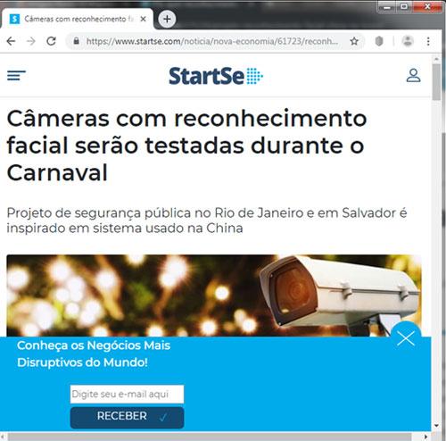 Câmeras de reconhecimento facial testadas no carnaval